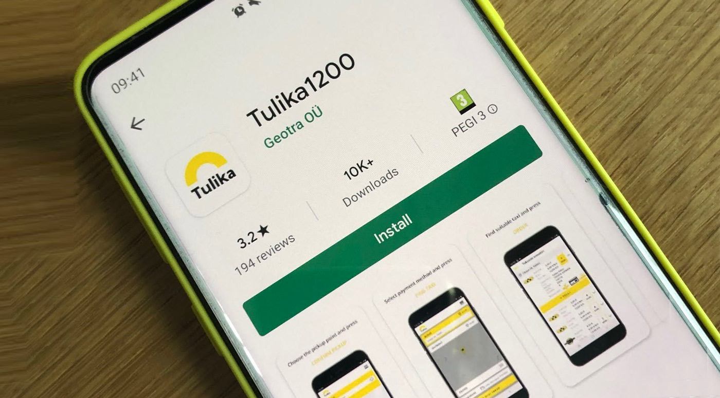 Tulika Takso запускает собственное приложение Tulika 1200 вместо Taxofon