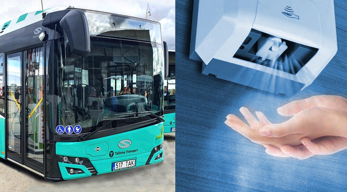 В столичных автобусах установлены дезинфекторы для рук