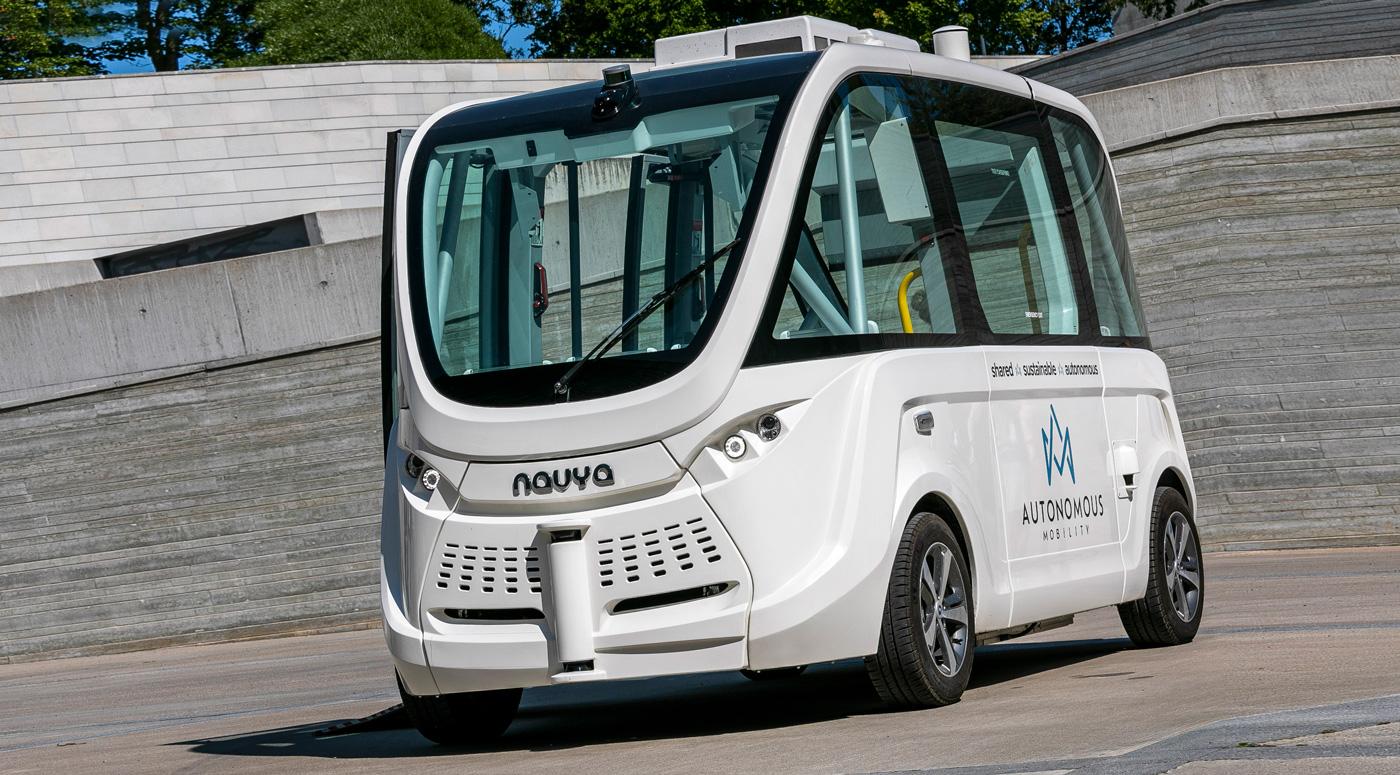 Беспилотный автобус тестируют в Кадриорге